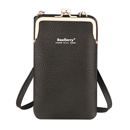 Mini bolso de hombro liviano, cuero de PU, bloqueador de RFID, bandolera, monedero para teléfono, billetera con correa de hombro ajustable y ranuras para tarjetas de crédito (Negro)