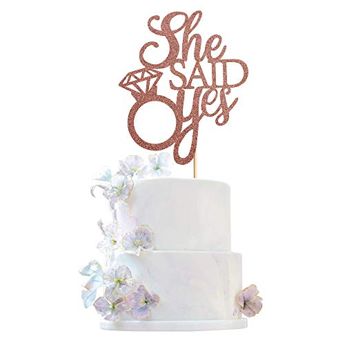 Unimall Rose Gold Glitter She Said Yes Propose Cake Topper with Diamond Ring for Engagement/Bridal Shower/Wedding Shower/Proposal/Bachelorette Party Decorations/Pregnancy Announcement