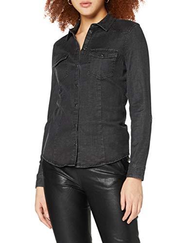 Only ONLROCKIT Life Denim LS Shirt BB QYT Chemise, Noir, 40 Femme