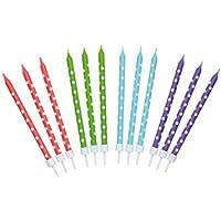 Kitchencraft SDICANDSPOT Velas de Cumpleaños, Cera, Multicolor, 10 cm + 2 cm, 24 Unidades
