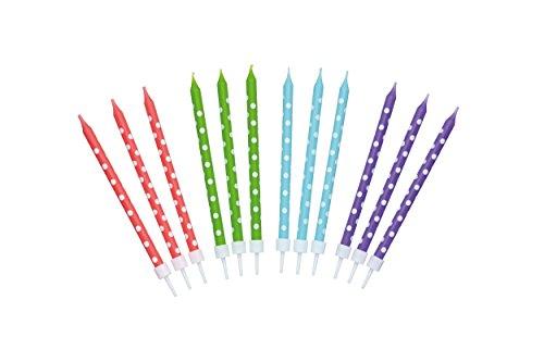 Kitchen Craft Sweetly Does It 24 Geburtstagskerzen mit Punkten, Wachs, Mehrfarbig, 10 cm