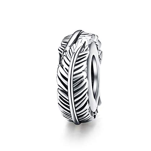 ABAOLALA Spacer Charm 925 Sterling Silver Clip Charm Stopper Beads Silicone Positioning Charm fit Fashion 3mm Pandora Charms Bracelet & Necklace (Feather Spacer Charm)