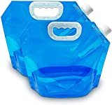 Gxhong Wassersäcke Faltbare, Tragbar Faltbarer Trinkwasser, 2 Stücke Faltbarer Wassersack, Wiederverwendbare Wasserbehälter Trinkwasser Behälter für Outdoor Camping Wandern Picknick BBQ, 5L