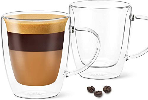 DLux Lungo 5.4oz Coffee Cups Double Wall, Clear Glass set of 2 Glasses with Handles, Insulated Borosilicate Glassware Tea Cup