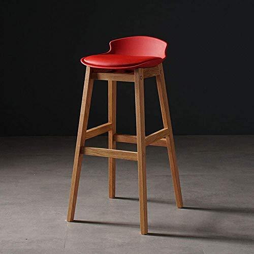 Barra de muebles Silla Aserradero Taburete Sólido Barra de leña Solidada Se utiliza para Café Cafetería Cocina Barra de desayuno Silla de barra simple Moderno moderno Pedic,Red