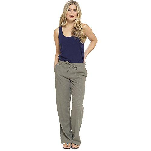 CityComfort Damen Leinen Freizeithosen Urlaub elastische Taille Damen Sommer Hosen Hosen Shorts beschnitten mit Taschen (52, Khaki voller Länge)