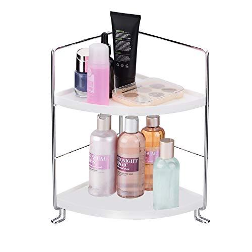 2-Tier Corner Storage Shelf Stackable Organizer for Cosmetics, Bathroom, Kitchen, Countertop, and Vanity, Silver