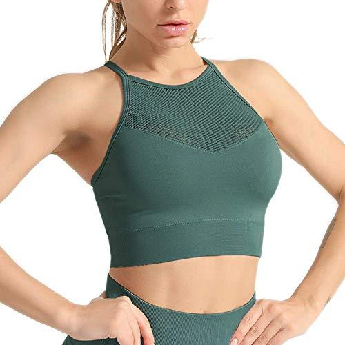 Hopgo Women's Seamless Sports Bra High Impact Mesh Running Crop Tops Breathable Openwork Workout Fitness Activewear Green