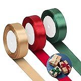 LAMEK 75 Yardas Navidad Cinta de Tela Seda Raso Cinta de Satén Decoración Brillante para Manualidades Costura Embalaje Regalo Cajas Flores Navidad Nochebuena Boda Fiesta, Oro Burdeos Verde Oscuro