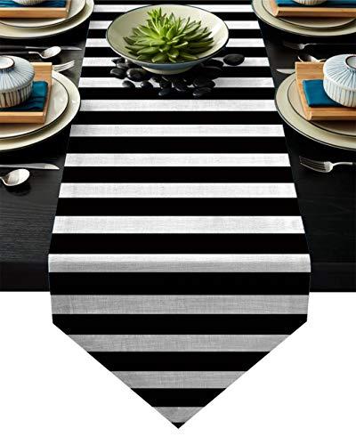 Linnen jute tafel loper dressoir sjaals 13 x 70 inch, Marokkaanse Trellis geometrisch ontwerp Boerderij Tafellopers voor feesten, eetkamer, woonkeuken, bruiloft decoraties