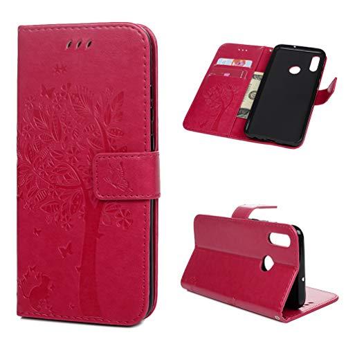 Archi Hülle Kompatibel mit Huawei P Smart 2019 / Honor 10 Lite Leder Handyhülle Flip Hülle Tasche Wallet PU Schutzhülle Bookstyle Ständer Kartensätze Magnetisch Handytasche Baum Rose rot