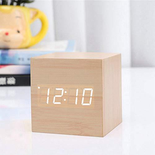 Digitaler LED-Wecker Aus Holz Sprachgesteuerter Wecker USB-Uhr Mit Temperaturanzeige Geeignet Für Schlafzimmer Küche Wohnzimmer Büro Kinderzimmer,Yelloea