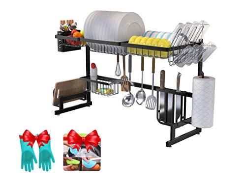 Amaze - Estante de almacenamiento para platos de cocina sobre fregadero, acero inoxidable, estante para almacenamiento en el fregadero