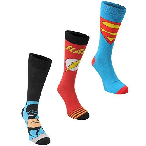 DC Comics 3 Paar Herren Socken Struempfe Verschiedene Motive Superheld Multi Mens 7-11