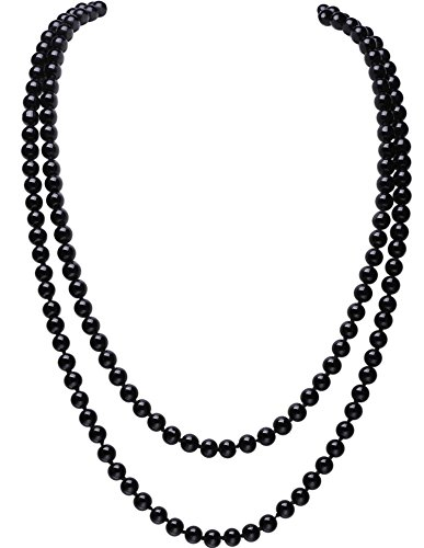 BABEYOND ART DECO Fashion Faux Pearls Flapper Beads Cluster Long Pearl Necklace 55'/150cm (Black)