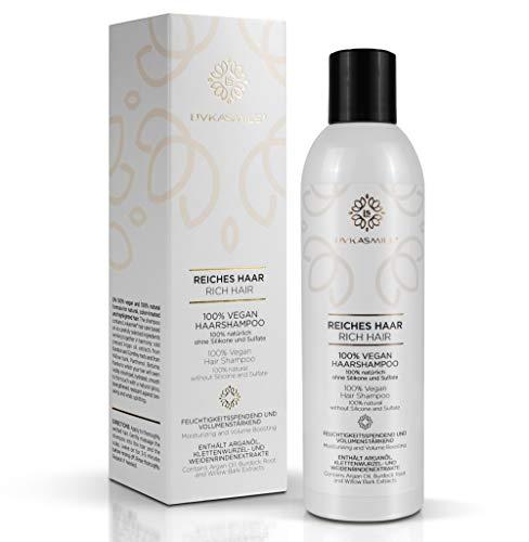 LIVKASMILE Reiches Haar - 100% vegan Haarshampoo, 100% natürlich, ohne Silikone und Sulfate - feuchtigkeitsspendend und volumenstärkend für natürliche, gefärbte oder hervorgehobene Haare (1 x 250 ml)
