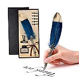 Pluma de inmersión hecha a mano Pluma de caligrafía inglesa Pluma de pluma Pluma de escritura Conjunto de tinta con pluma para regalo de papelería (Azul oscuro)