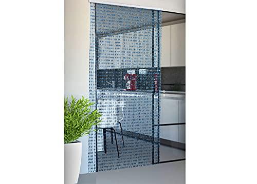 Biancheriaweb Rideau de Porte Anti-Mouches, Bleu 120 x 220 cm, 80 Fils, Rideau de Porte, Rideau de Porte, Panneau avec Support en PVC