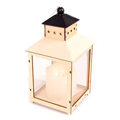 WeRChristmas 25 cm Pre-Lit Wooden Lantern Christmas Decoration with Warm White LED Lights