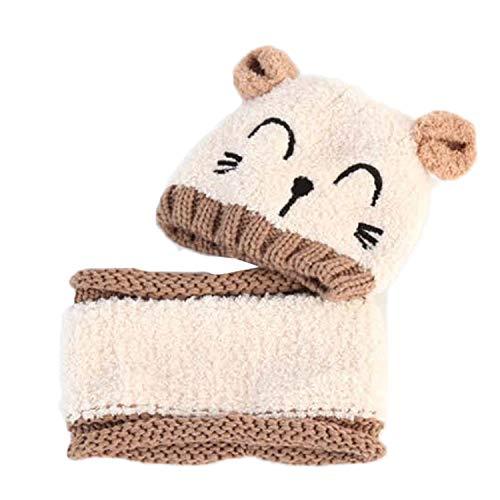 Vococal 2pcs bébé nourrisson mignon hiver chaud doux chat tricot beanie chapeau bonnet avec écharpe cercle pour 8-36 mois enfant fille garçons garçons beige