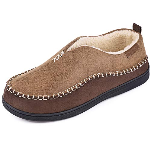EverFoams Men's Moccasin Slippers Memory Foam Indoor/Outdoor Warm Suede House Shoes with Fuzzy Sherpa Lining (Tan, Size 10 M US)