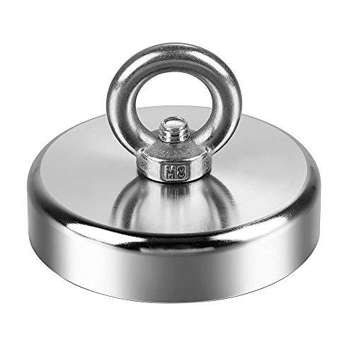 Anpro 230 KG Haftkraft Ösenmagnet zum Magnetfischen, Suchmagnet Bergemagnet Ø 75mm Topfmagnet Rund Magnet