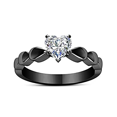 Love Shaped Zircon Ring Fashion Black Gold Gun Color Lovers Ring Wedding Gift Ring Under 5 Dollars Valentine's Day Gifts for Girlfriend Boyfriend (US Size)