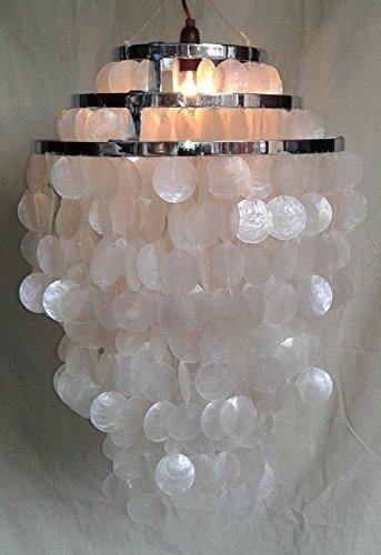 Guru-Shop Plafondlamp/Plafondlamp, Shell Lamp met Honderden Capiz, Parelmoer Platen - Model Sangria Chroom, Schelpen, 60x40x40 cm, Hanglampen van Natuurlijke Materialen