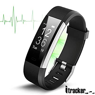 ITRACKER Fitness Tracker [2019], Activity Tracker Watch with Heart Rate Monitor, Waterproof Smart Bracelet with Step Counter, Calorie Counter, Pedometer Watch for Kids, Women and Men