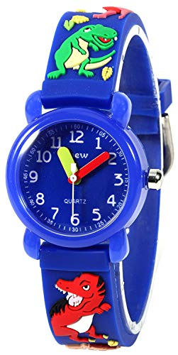 FGWAF Gift Dinosaur Toys for 3-12 Year Old Boy Kids, Waterproof Wristwatch for Boys Age 3-12, Watch Toy Birthday Gifts Present for Kids (Blue)