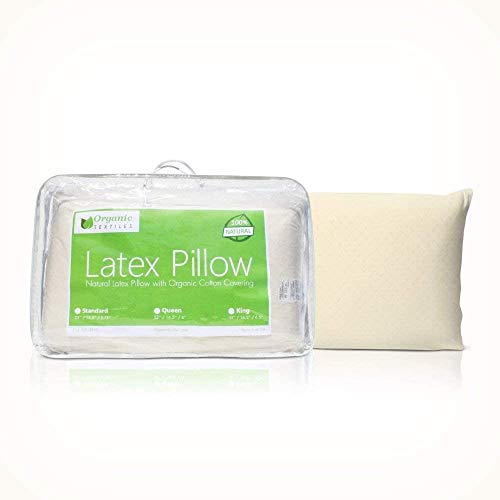 Natural Latex Pillow (Queen Size, Firm), with 100% Organic Cotton Cover Protector, No Memory Foam Chemicals, Helps Relieve Pressure, Sleeping Support, Back and Side Sleepers