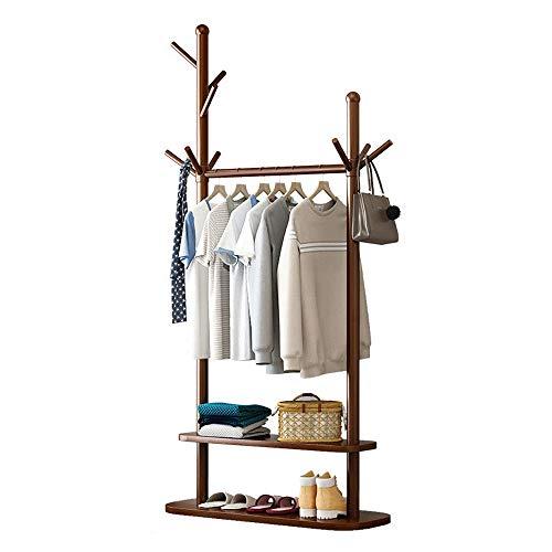 Vobajf Perchero Inicio Perchero de Madera Maciza Perchero de pie Pasillo de árbol Perchero con estantes (Color : Rustic Brown, Size : Two Layers)