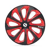 SPARCO SPC1473BKRD Enjoliveur Sicilia, Noir/Rouge, Set de 4, 14'