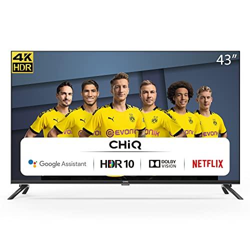 CHiQ Randloser Android UHD LED Fernseher 43 Zoll TV 4k Randlos Smart TV 108 cm Bilddiagonale [Made in EU] (Version 2020, Ultra HD, Prime Video und Chromecast)