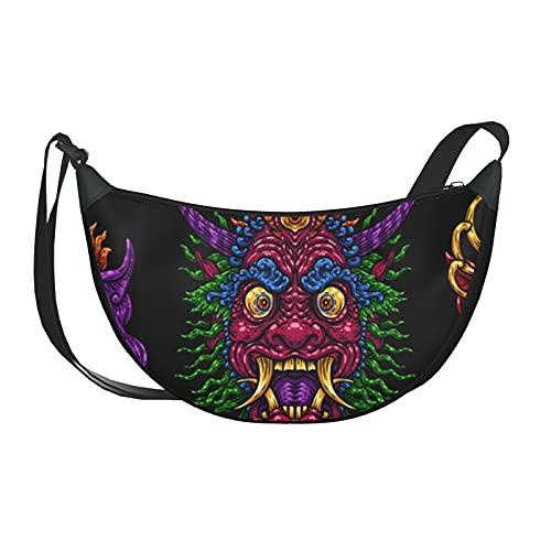 Bolso de mano para mujer, máscara de Bali indonesia, bolsos cruzados mitológicos balineses para mujer, bolsos para mujer con cierre de cremallera para mujer