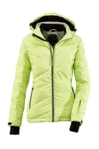 Killtec Ocisa Veste de ski pour femme aspect duvet avec capuche zippée amovible et jupe pare-neige, colonne d'eau 10 000 mm S Vert printanier.