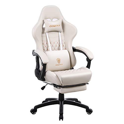 Dowinx Silla de oficina para gaming, silla ergonómica de PC, con masaje lumbar, estilo racing, piel sintética, respaldo alto, sillón giratorio ajustable con reposapiés, color blanco marfil