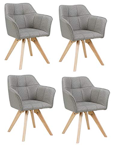 SAM 4er Set Schalenstuhl Hella, Kunstlederbezug Grau, Eichenholz-Gestell, Armlehnstuhl im skandinavischen Design