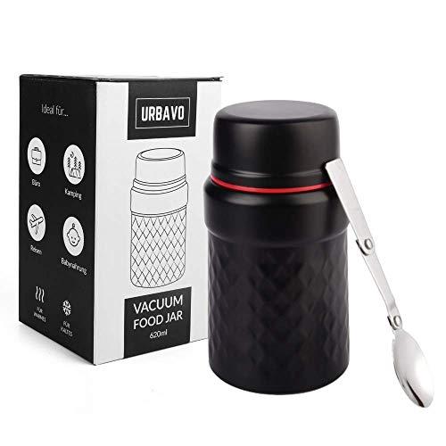 Urbavo Thermobehälter Essensbehälter 500ml & 620ml, Warmhaltebox, Isolierbehälter für Warme Speisen, Isolier Behälter aus Edelstahl mit Löffel BPA frei (620ml schwarz)