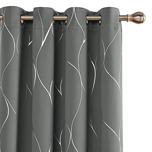 Deconovo Silver Wave Foil Print Blackout Curtains Grommet Light Blocking Curtain Room Darkening Noise Reducing Window Draperies for Living Room 52W x 84L Inch Set of 2 Panels Light Grey