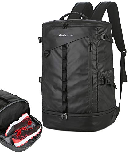 Mouteenoo Travel Backpack with Shoes Compartment for Gym Sports Hiking Water-Resistant Backpack for Men and Women (Black)