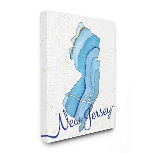 Black Framed Design by Artist Ziwei Li Wall Art Stupell Industries Massachusetts Agate Blue US State 16 x 1.5 x 20
