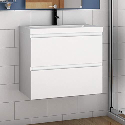 Aica Sanitär Badmöbel Set 60 cm Aalst Vormontieren Unterschrank Waschbecken Waschtisch Weiß