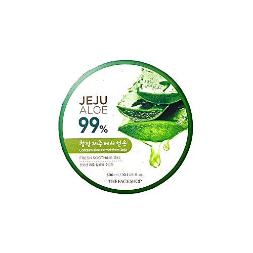 The Face Shop Non-Sticky Transparent 3 in 1 Aloe Fresh Soothing gel for Skin, Body and Hair  Reduces Dark Spots and Acne,300ml