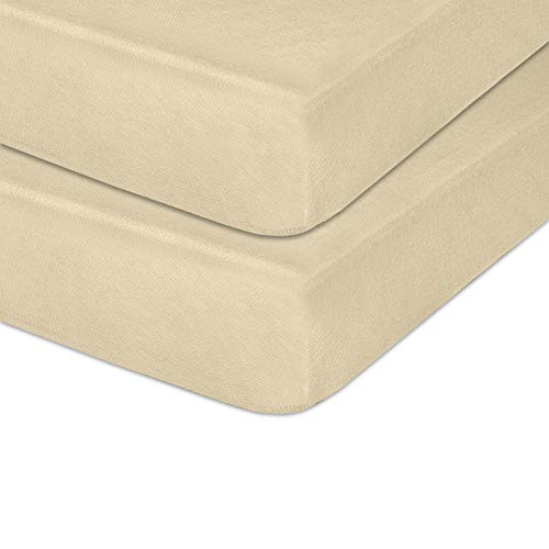 """IDEAhome Jersey Knit Crib Sheet with Fitted Stretch, Standard Baby and Toddler Mattress, 52"""" x 28"""" x 8"""", Cream, Pack of 2"""