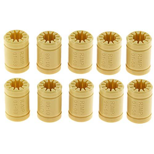 Fesjoy Rodamientos lineales de plástico, 10pcs LM8UU RJMP-01-08 Cojinete de polímero sólido 8mm Eje de plástico Cojinete Lineal para impresoras 3D