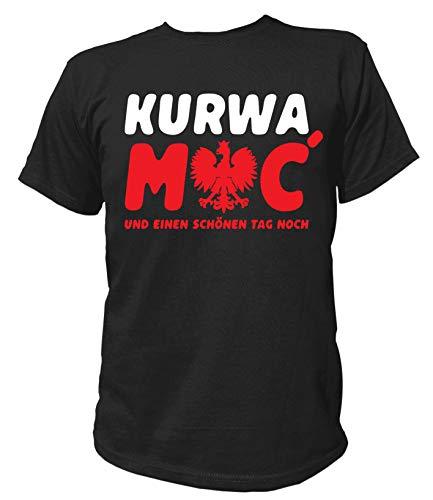 Artdiktat Herren T-Shirt | Kurwa mac und einen schönen Tag noch | Polska Polen rodzina Prezent ojczyzna Humor Größe L, schwarz