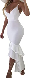 Women's Sexy Elegant Ruffle Bodycon Backless Long Evening Party Dress