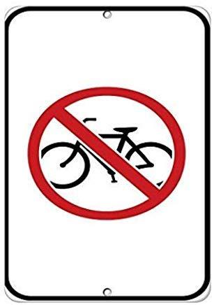 Wendana Geen fiets Symbool Verkeersbord Aluminium Metalen Waarschuwingsborden Grappige Private Property Signs Home Yard Gate Kennisgeving Teken 8