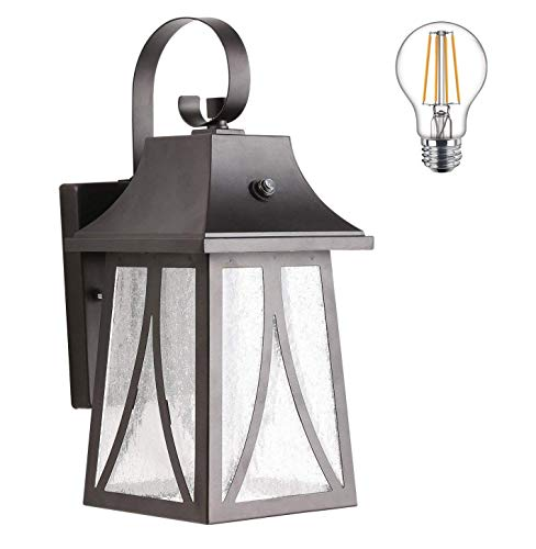 Cloudy Bay 120V Outdoor Wall Lantern with Dusk To Dawn Photocell, Includes LED Filament Bulb,Oil Rubbed Bronze